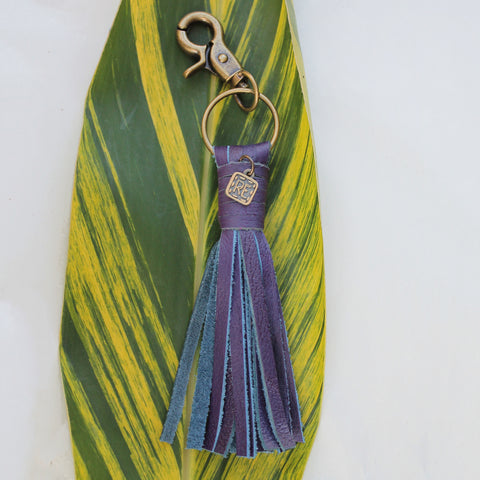Boysenberry Leather Tassel Keychain