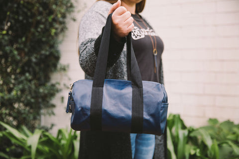 Rethreaded Barrel Roll Duffel Bag Navy Leather