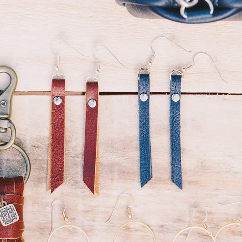 Rivet Bar Earrings Leather Crimson