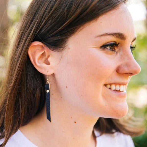 Leather Rivet Tab Bar Earrings