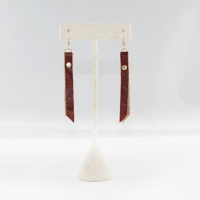 Leather Rivet Tab Earrings