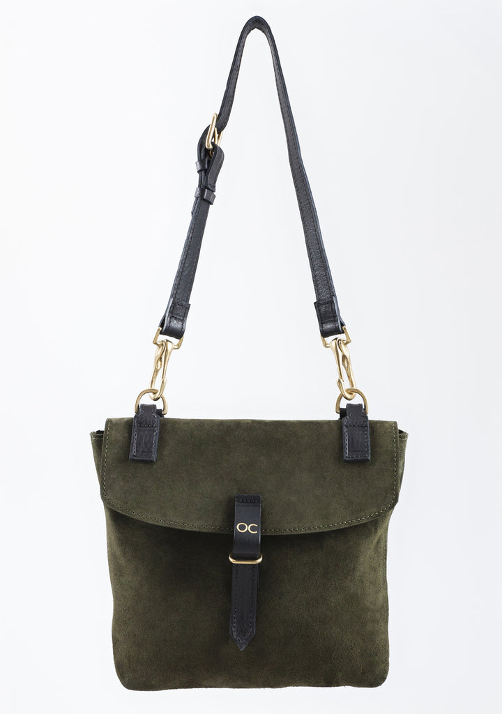 Khaki Suede Little Olive Square Bag