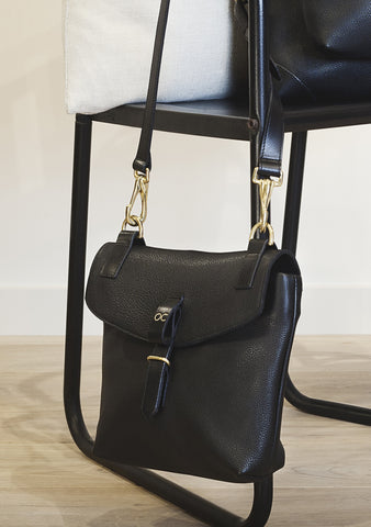 Black Leather Little Olive Square Bag - SAMPLE