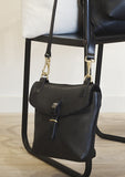 Black Leather Little Olive Square Bag