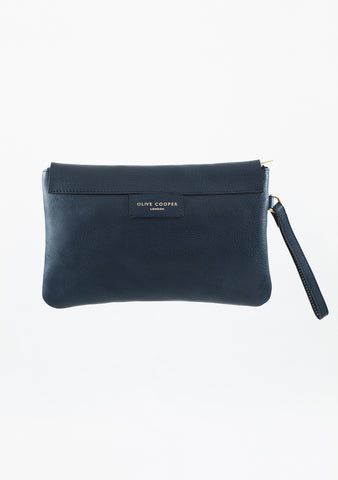 Olive Clutch - Navy Leather
