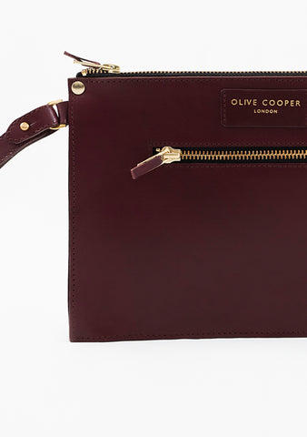 Olive Edge Clutch - Oxblood