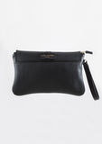 Olive Clutch - Black Leather