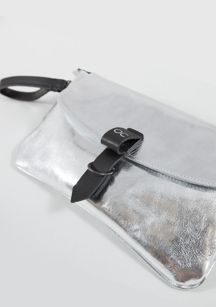 Olive Clutch - Metallic Silver