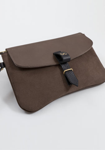 Olive Clutch - Ox Suede & Leather