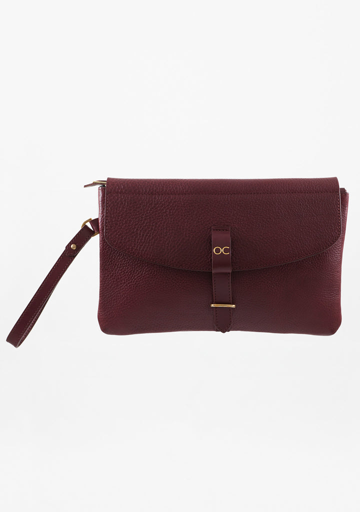 Olive Clutch - Oxblood Leather