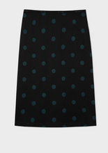 Load image into Gallery viewer, Paul Smith Navy and Green Polka Dot Jersey Skirt