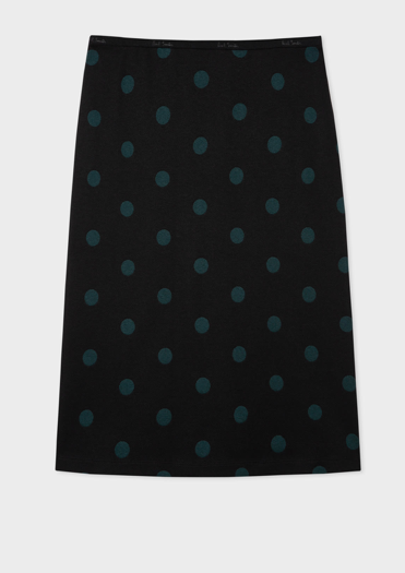 Paul Smith Navy and Green Polka Dot Jersey Skirt