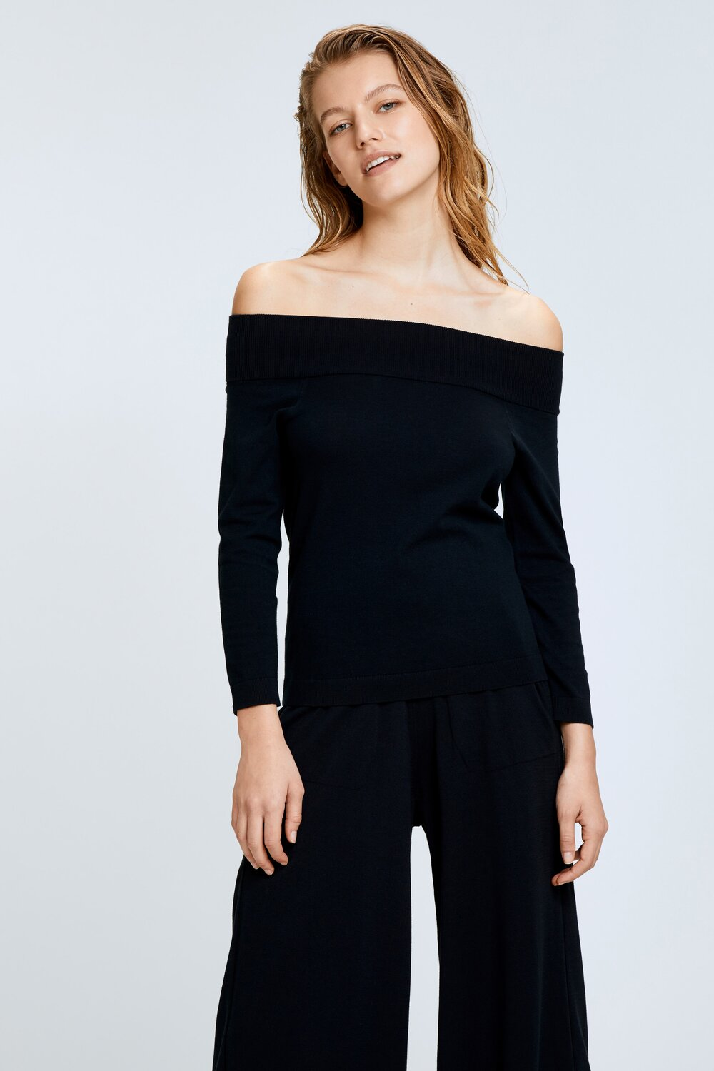Dorothee Schumacher Black Easy Comfort Off Shoulder Knit-bowns-cambridge