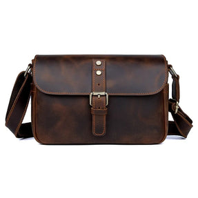 TuccisLeather 1062R Vintage Cow Leather Messenger Bag for Men