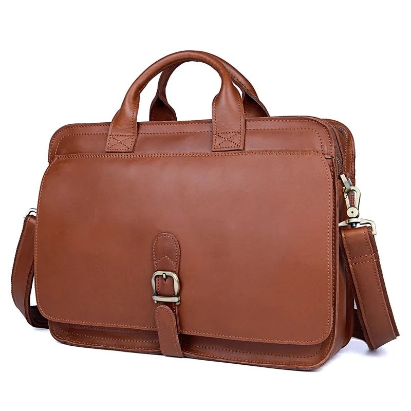 TuccisLeather 6020B-1 Leather Vintage Cow Leather Laptop Bag Handbag