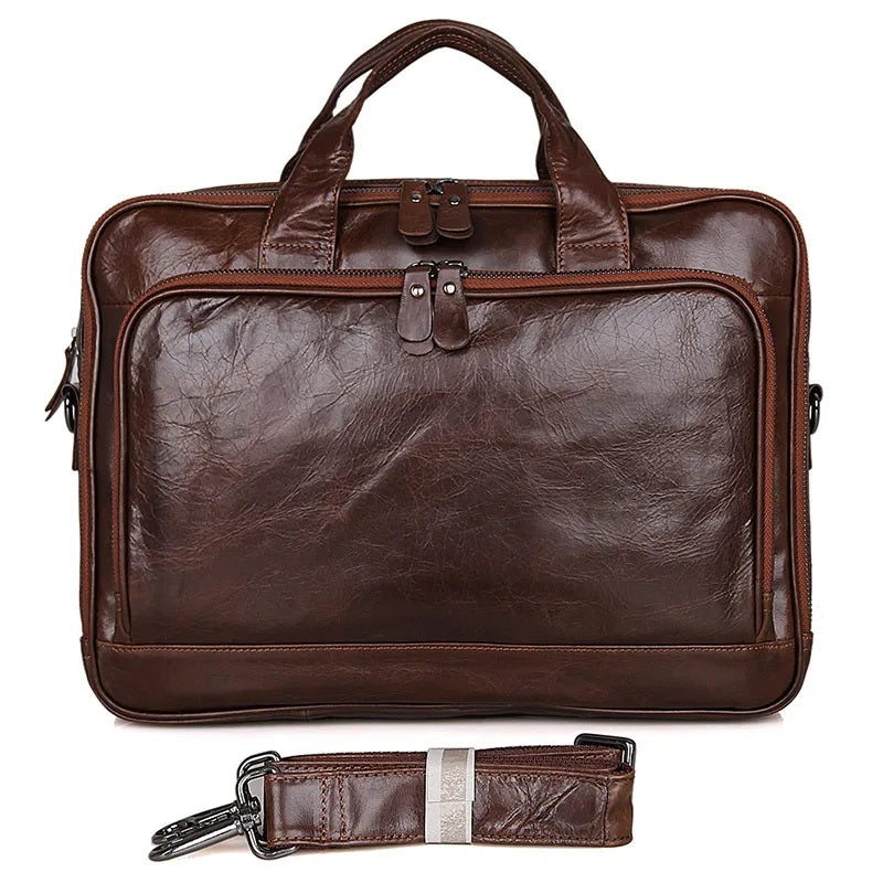 TuccisLeather 7005Q Vintage Leather Men's Briefcase Laptop Bag Messenger
