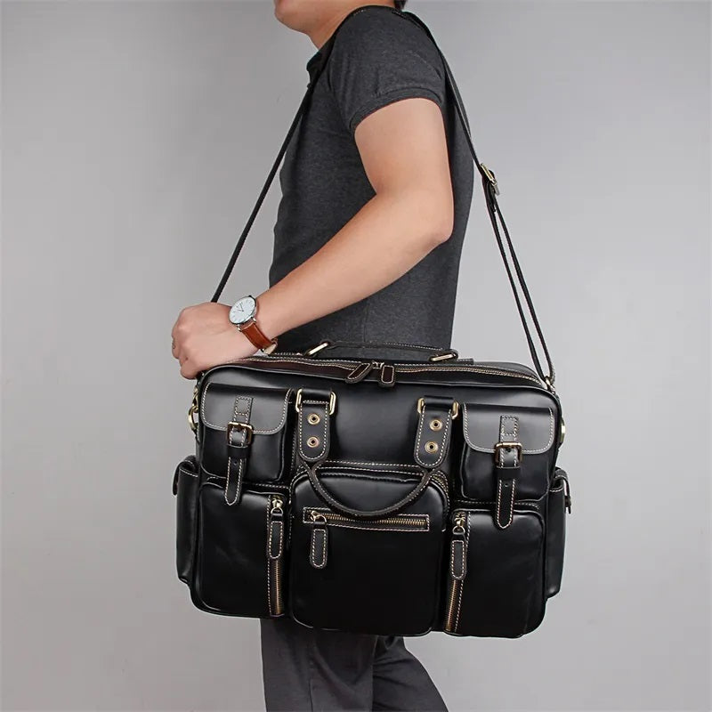 TuccisLeather 7028A Genuine Cow Leather Men's Briefcase Laptop Bag