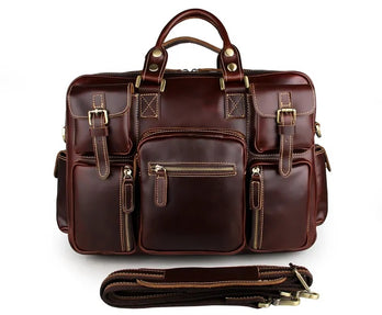 TuccisLeather 7028X-1 Rare Cow Leather Men's Briefcase Laptop Bag