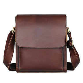 TuccisLeather 7055X Brown Red Sling Bag for Men Messenger Bag