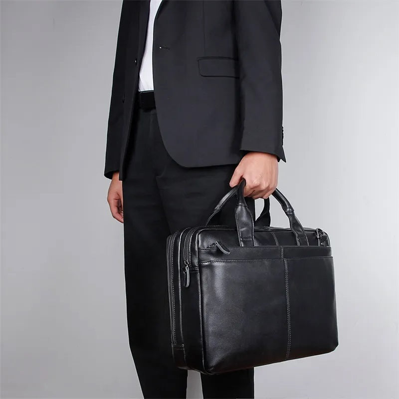 TuccisLeather 7092A Black Top Full Grain Cow leather Briefcase Laptop Bag