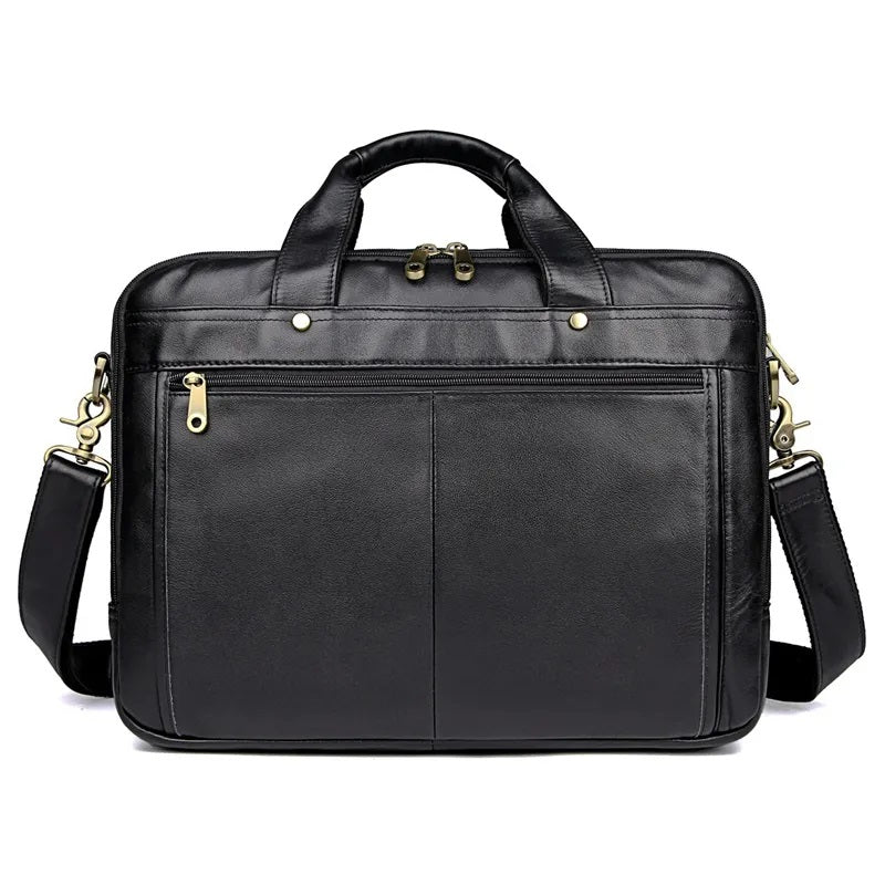 TuccisLeather 7146A-2 Black Full Grain Cow Leather Handbag Men's Laptop Bag