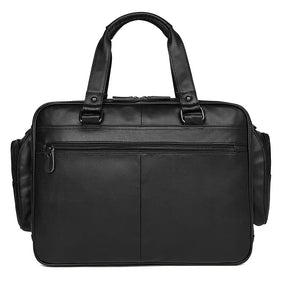 TuccisLeather 7150A Black Popular Leather Men Handbag Large Capacity Business Bag