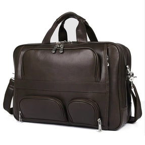 TuccisLeather 7289Q Full Grain Cow Leather Coffee Briefcase Handbag for Men