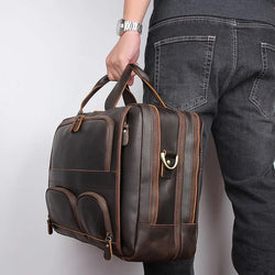 TuccisLeather 7289R-1Y Dark Brown Crazy Horse Leather Briefcase Men's Handbag