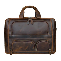 TuccisLeather 7289R Durable Crazy Horse Leather Briefcase Office Bag