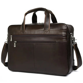 TuccisLeather 7319C-1 Coffee Cowhide Leather Business Laptop Bag for Men Multi-function Handbag