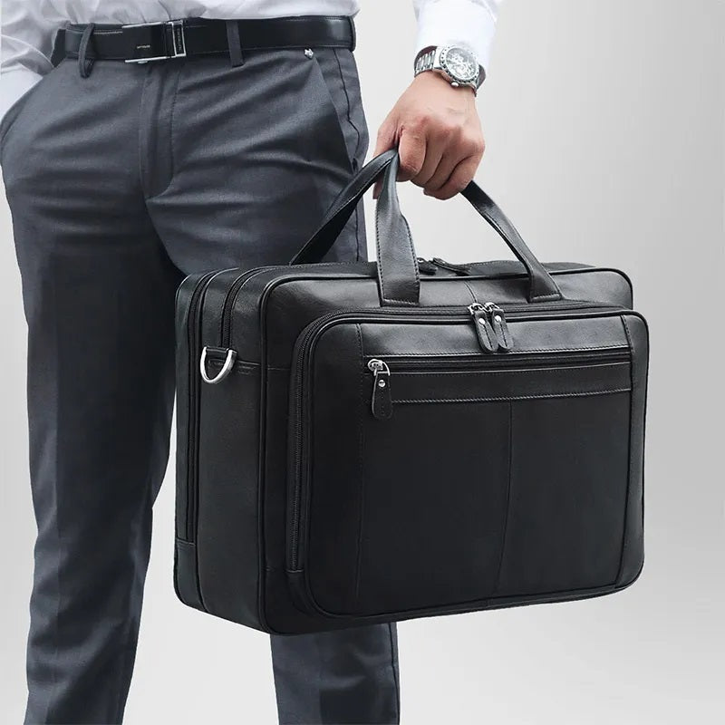 TuccisLeather 7320A Black Real Cowhide Hot Selling Laptop Briefcase for Men
