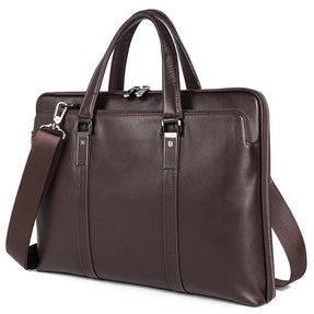 TuccisLeather 7326Q Coffee 15 inches Laptop Briefcase Business Men Bag