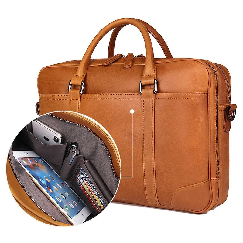 TuccisLeather 7348B-2 Bright Brown Genuine Cowhide Men's Laptop Bag Document Briefcase