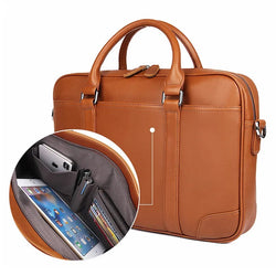 TuccisLeather 7349B-1 Bright Brown Genuine Leather Briefcase Men Laptop Bag