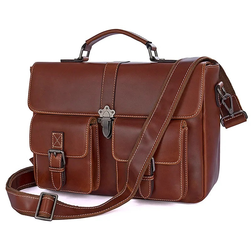 TuccisLeather 7376B Unique Design Real Leather Handbag for Men Computer Bag