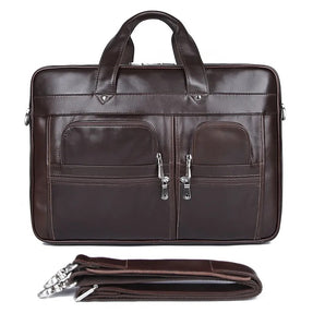 TuccisLeather 7387C-1 Coffee Top Graine Cow Leather Laptop Bag Briefcase for Men Travel Bag