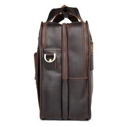 TuccisLeather 7387R-1 Dark Brown Crazy Horse Leather Briefcase Men's Handbag