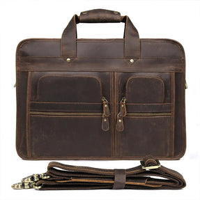 TuccisLeather 7387R Crazy Horse Leather Unite Design Business Laptop Bag Briefcase