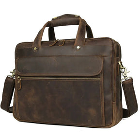 TuccisLeather 7388R New Product Real Leather Multi-function Briefcase Laptop Bag