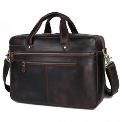 TuccisLeather 7389R-1 Dark Brown Crazy Horse Leather Briefcase Handbag