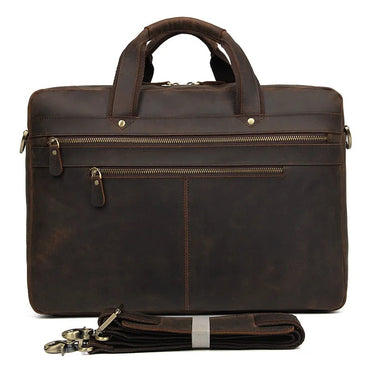 TuccisLeather 7389R Dark Brown Cowhide Leather Briefcase Large Capacity Business Travel Bag for Men