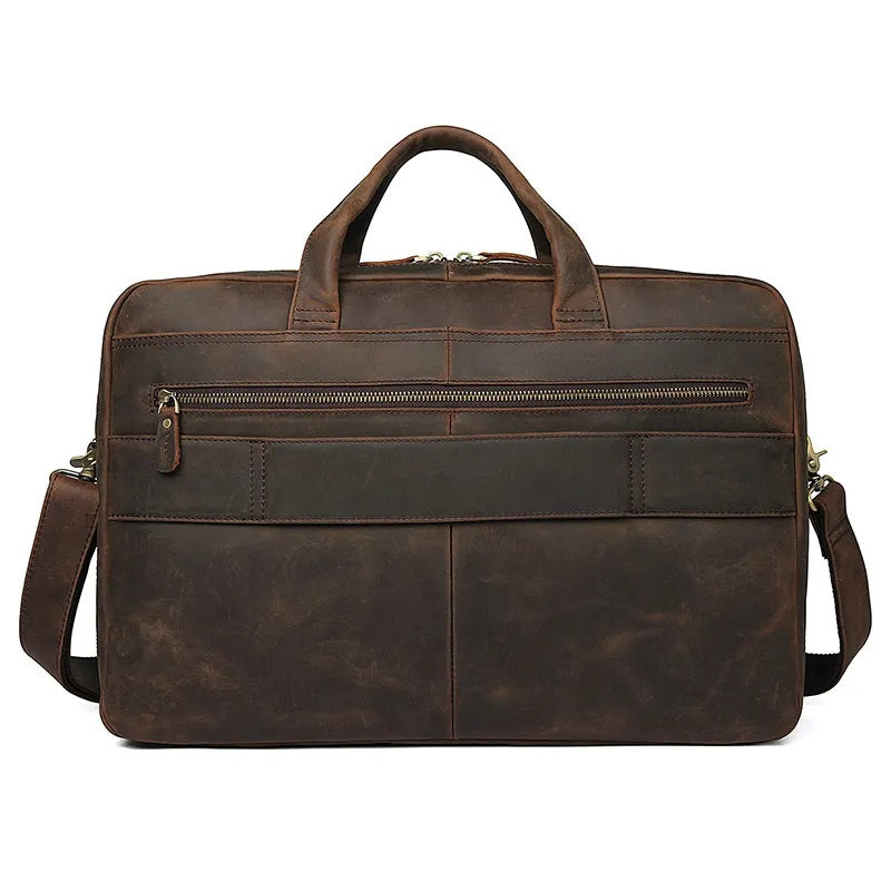 TuccisLeather 7391R Dark Brown 100% Crazy Horse Leather Laptop Briefcase Large Capacity Men Business Travel Bag