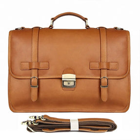 TuccisLeather 7397B Mens Messenger Bag Leather Computer Laptop Bag 15.6 Inch Briefcase Case Vintage Retro Large Satchel Shoulder Bag College Brown