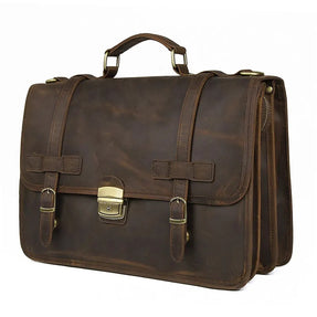 TuccisLeather 7397R Cow Leather Satchel Bag for Men 15.5 Inch Mens Leather Laptop Messenger Briefcase Bags