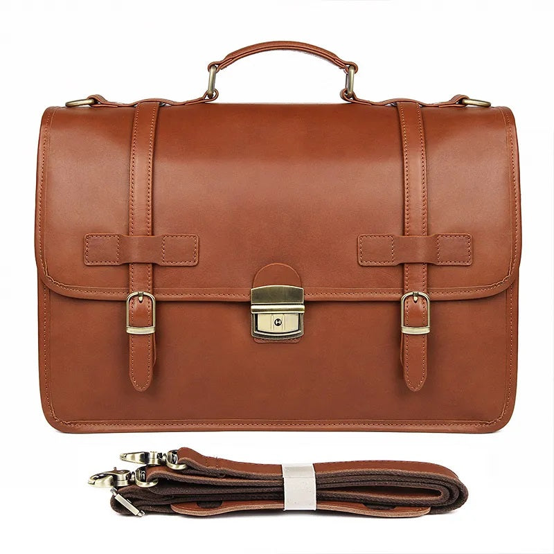 TuccisLeather 7397X Hot Seller High Quality Brown Red Cowhide Briefcase for Men