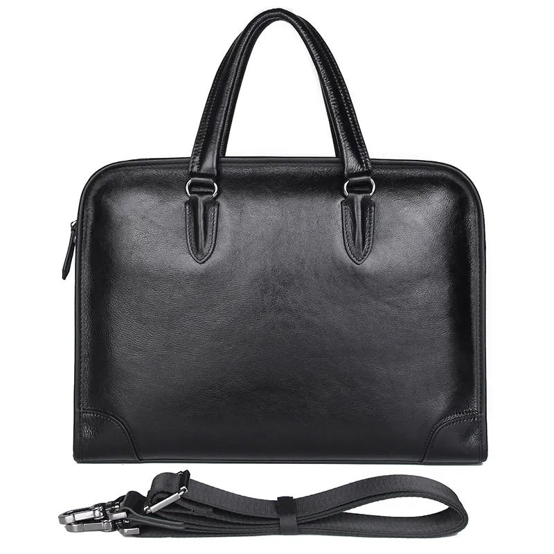 TuccisLeather 7402A 100% Cow Leather Briefcase Handbags for Men Black Laptop Bag