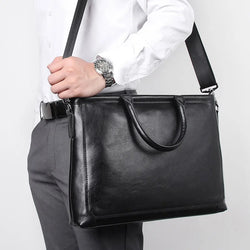 TuccisLeather 7404A Black Cow Leather Handbag Mens Briefcase 15inches Laptop Bag