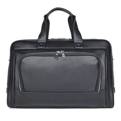 TuccisLeather 7408A Fashion Black Full Grain Cow Leather Briefcase Unique Design Laptop Bag