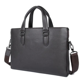 "TuccisLeather 7410Q Coffee Trend Genuine Cow Leather 15"" Laptop Men's Handbag"