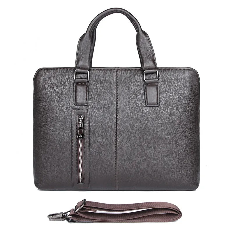TuccisLeather 7411Q Coffee Real Soft Cow Leather Briefcase Laptop Bag